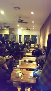 "The crowd at ""Moonlighting"" for my reading."